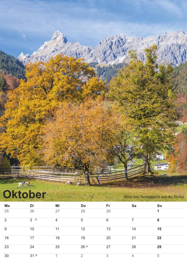 Bildkalender Montafon 2017 - Bild Oktober