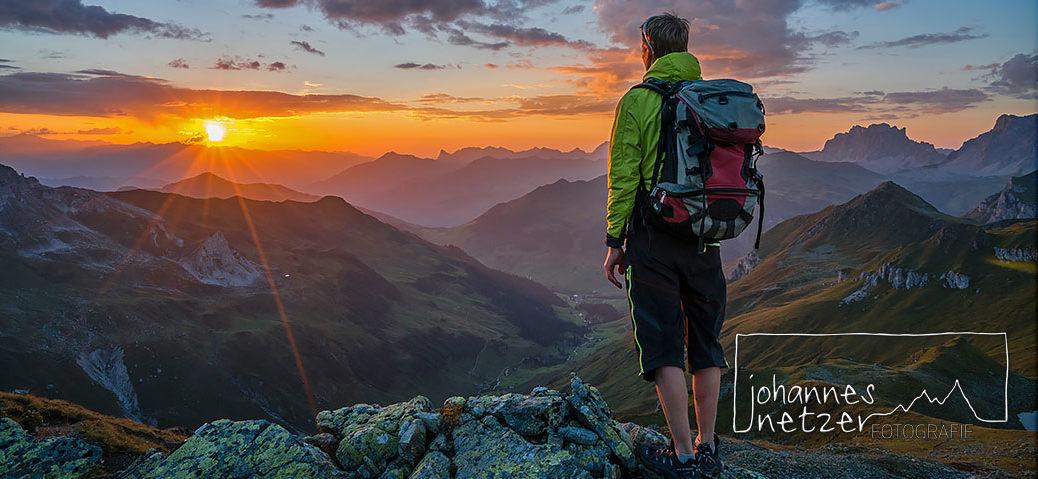 Sonnenuntergang in den Bergen im Montafon/Vorarlberg