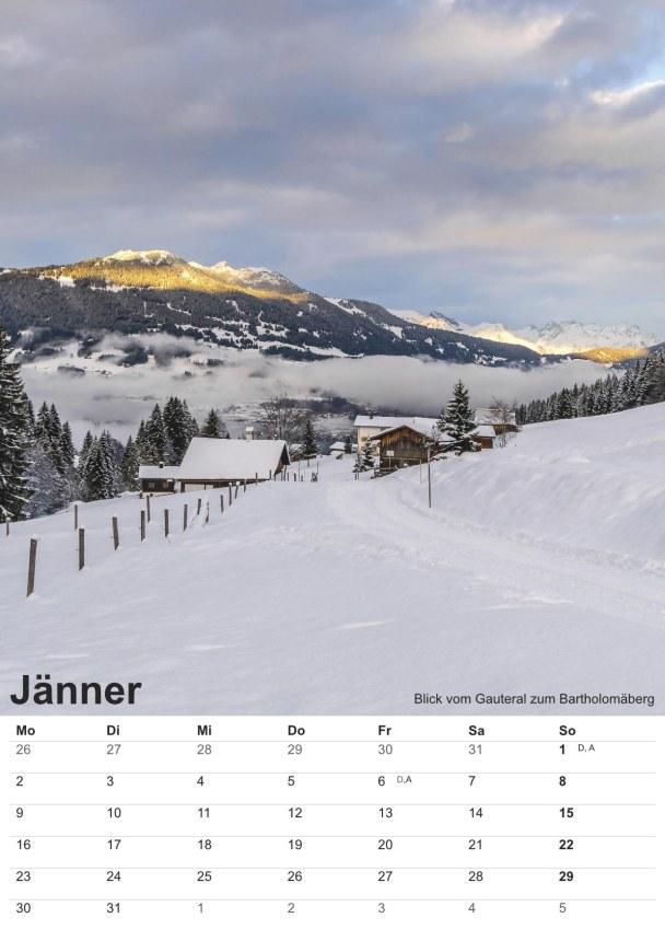 Bildkalender Montafon 2017 - Bild Jänner